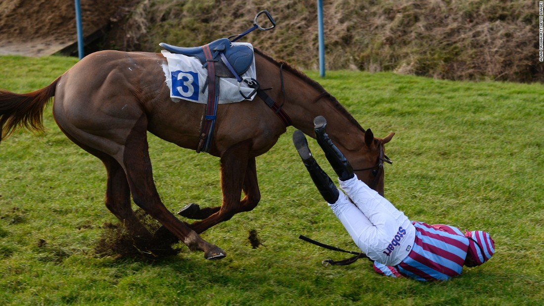 Lizzie Kelly falls off Benefique Royale during a race Thursday, January 8, in Leicester, England. She was not seriously hurt.