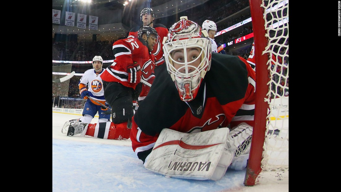 New Jersey Devils goaltender Keith Kinkaid looks into the back of his net during a home game against the New York Islanders on Friday, January 9.