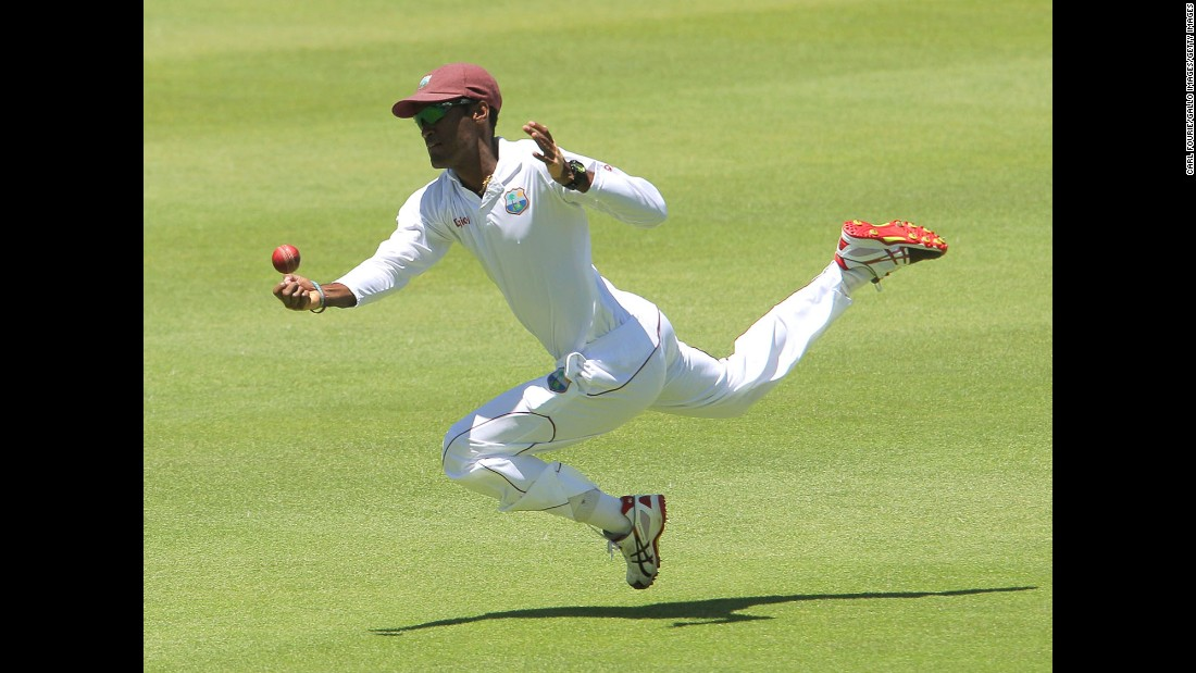 Kraigg Brathwaite of the West Indies dives for a catch during a Test match in Cape Town, South Africa, on Tuesday, January 6. South Africa would eventually win the match by eight wickets.