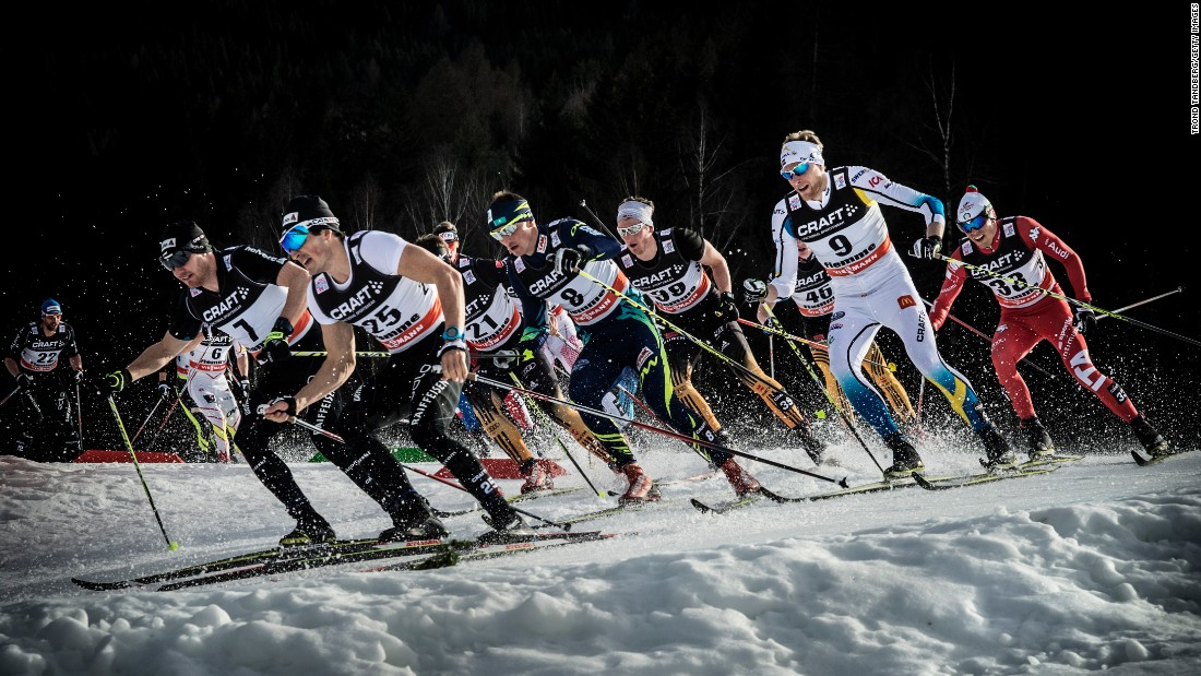 Cross-country skiers race Saturday, January 10, during the Tour de Ski in Val di Fiemme, Italy.