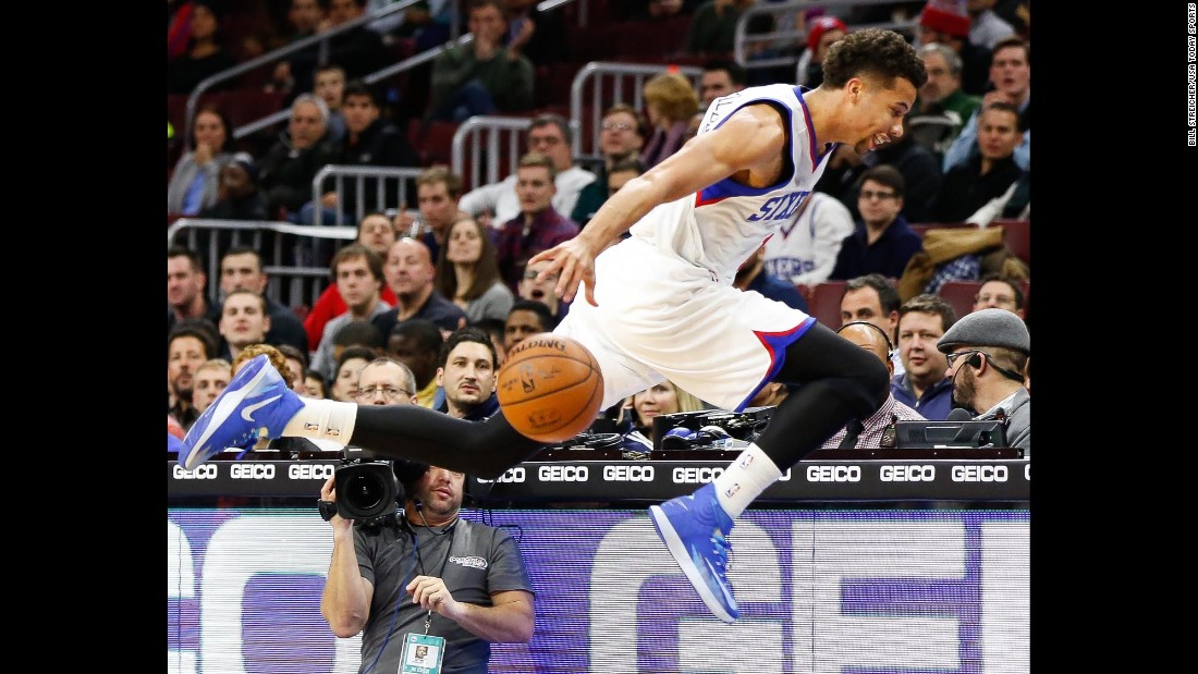 Philadelphia 76ers guard Michael Carter-Williams tries to save a loose ball during a home game against Milwaukee on Wednesday, January 7.