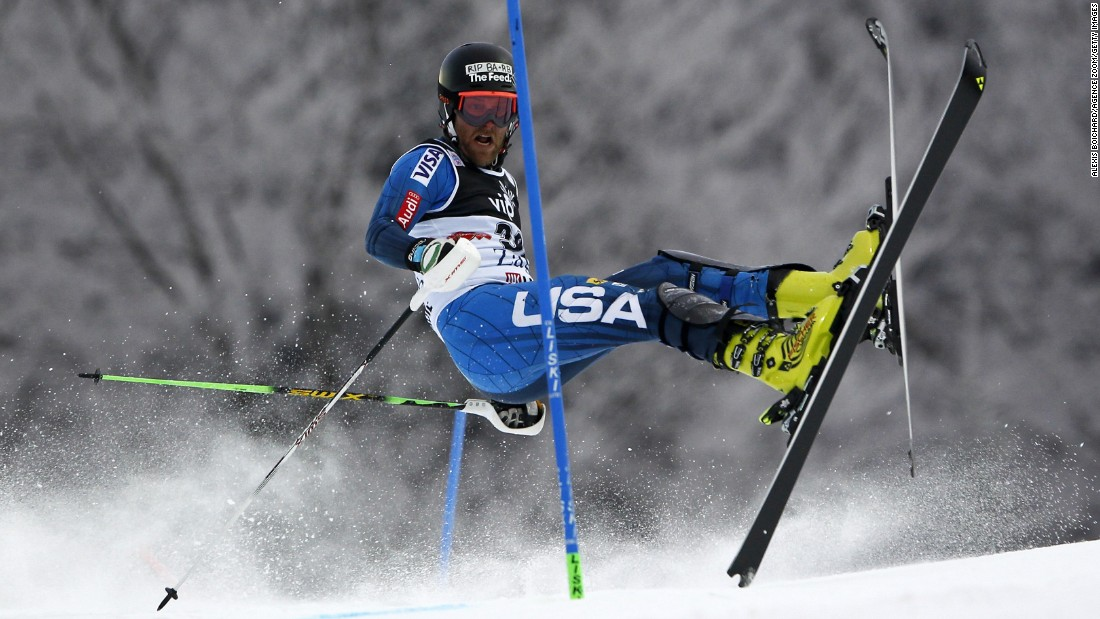 American skier Will Brandenburg goes sideways during a World Cup slalom run in Zagreb, Croatia, on Tuesday, January 6.