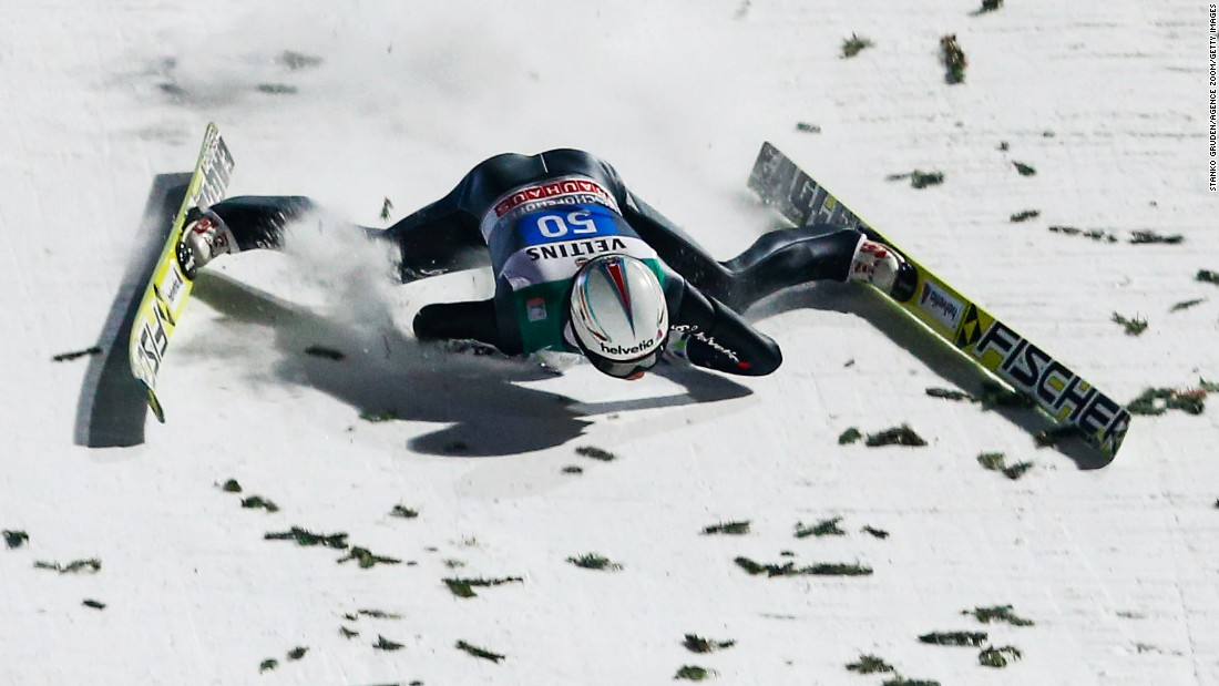 Swiss ski jumper Simon Ammann falls Tuesday, January 6, during the Four Hills Tournament in Bischofhofen, Austria. The crash knocked the former Olympic champion unconscious, and he was hospitalized for several days. According to the Swiss Ski Federation, he suffered a severe concussion and several bruises to the face.