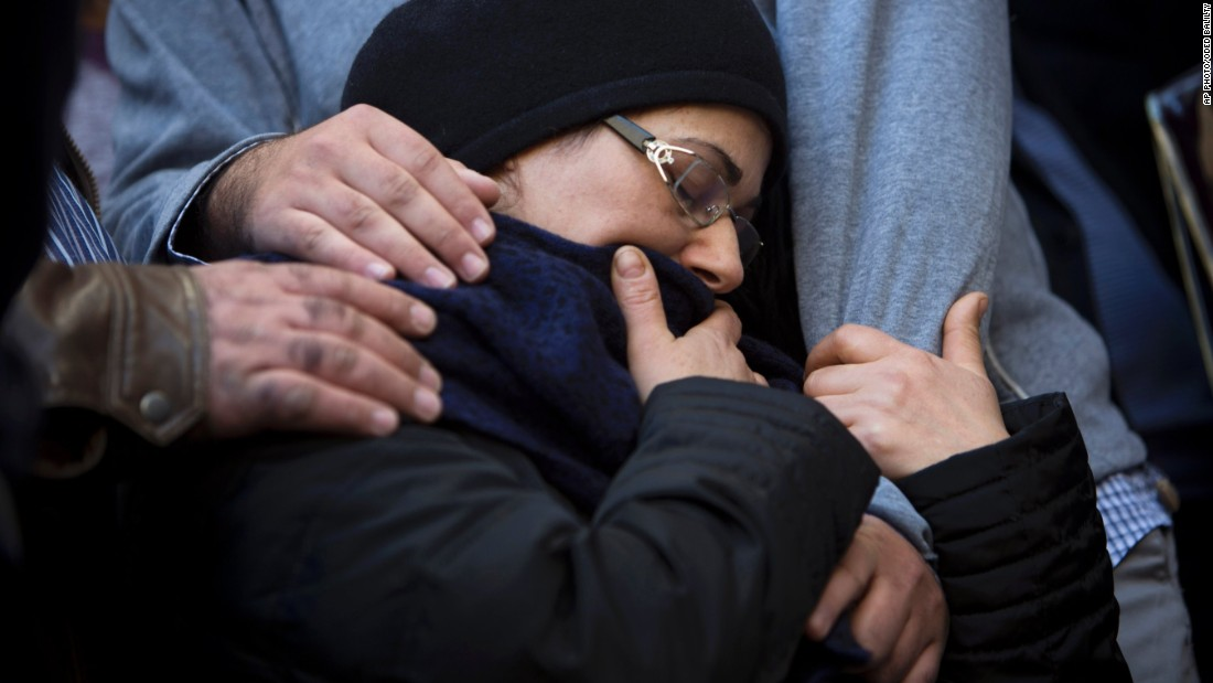 "The mother of Hattab is comforted during his funeral procession. <a href=""http://cnn.com/2015/01/10/world/france-paris-who-were-terror-victims/"">He was the son of the chief rabbi of Tunis</a>, Tunisia, JSSNews reported. Hattab will be buried in Jerusalem with the other victims."