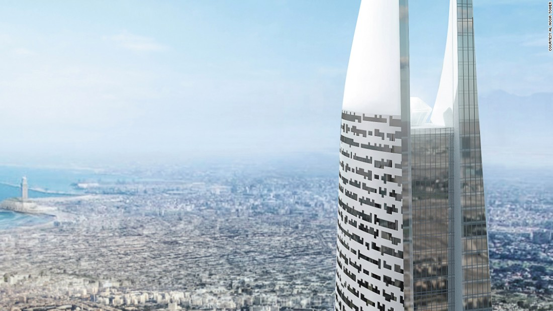 An artist's rendering of the Al Noor Tower with the city of Casablanca depicted in the background.