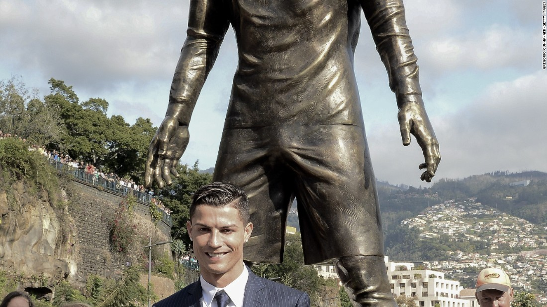 December 21: Ronaldo -- with son, Cristiano Jr. -- attends the unveiling of a statue of himself in his hometown of Funchal.