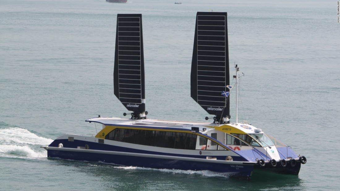 "Based in Australia, <a href=""http://www.solarsailor.com/about/"" target=""_blank"">Ocius Ocean Technology</a> claims its solar sails can save between 20-40% of fuel. Designed to work in winds of up to 44 knots, they track the movement of the sun for maximum sun exposure, and in the event of high winds, fold down against the boat."