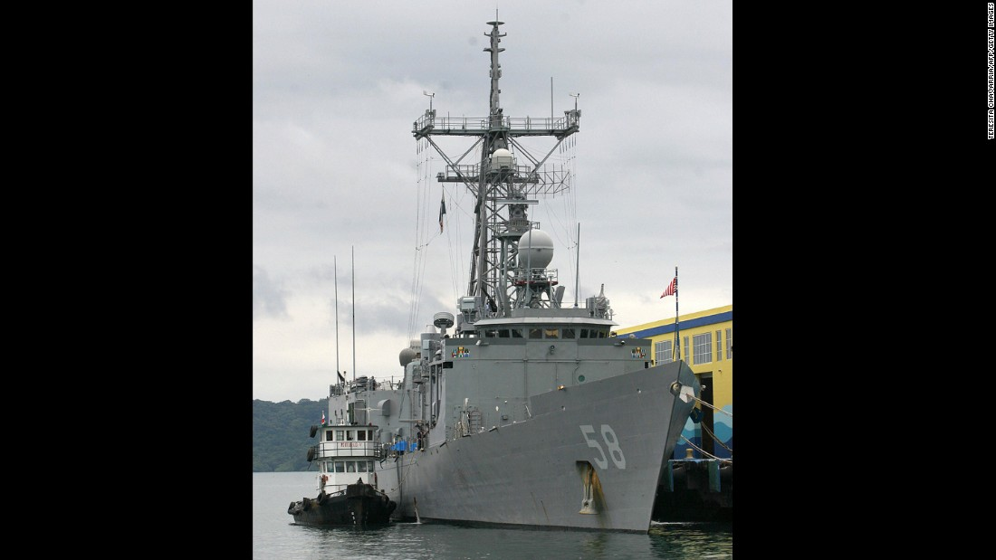 The Perry-class frigate USS Samuel B. Roberts, shown here in Panama in 2005, was struck by an Iranian mine in the Persian Gulf in 1988.