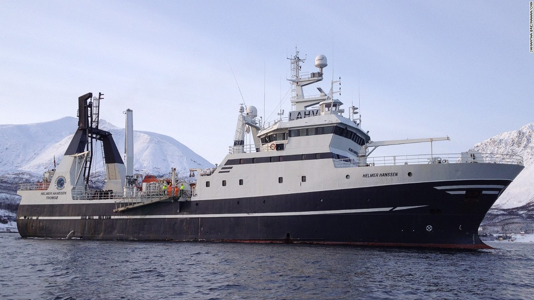 "The vessel ""Helmer Hanssen"" on the Arctic waters of the Lyngen Fjord, northern Norway. Its mission: To discover unknown bacteria that might provide new antibiotics."