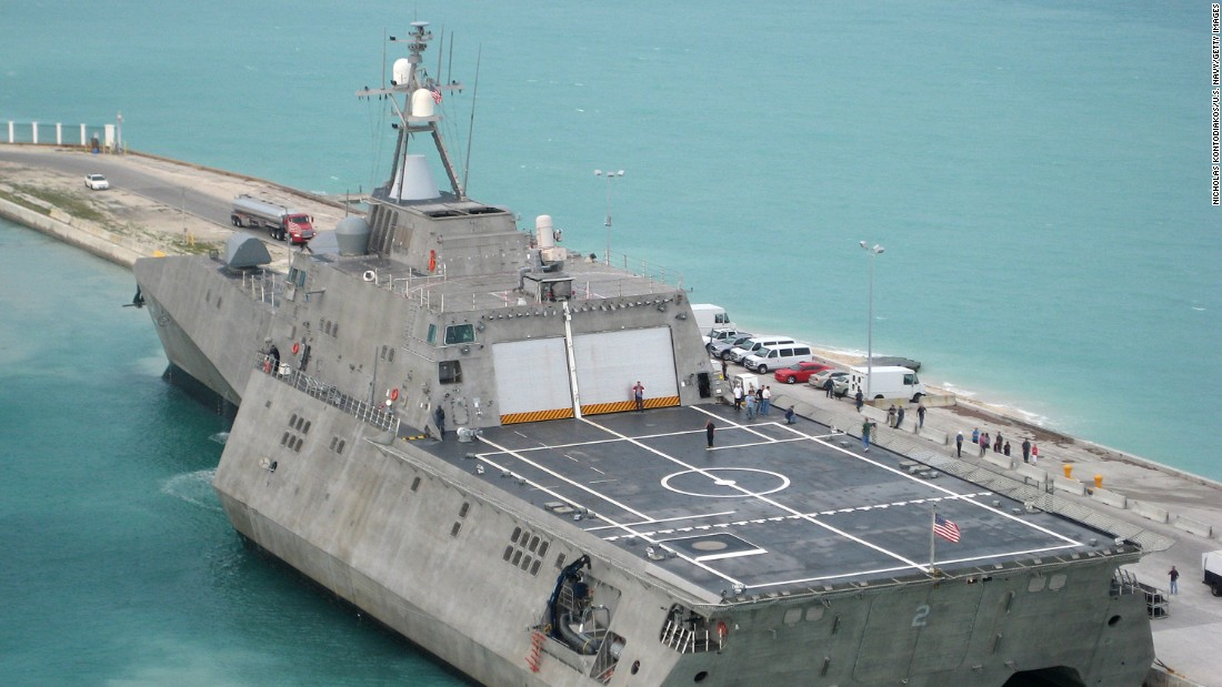 "The littoral combat ship USS Independence (LCS-2) is pictured at Naval Air Station Key West, Florida, in 2010. The ship was specifically designed to defeat ""anti-access"" threats in shallow coastal water regions, including surface craft, diesel submarines and mines, according to the Navy."