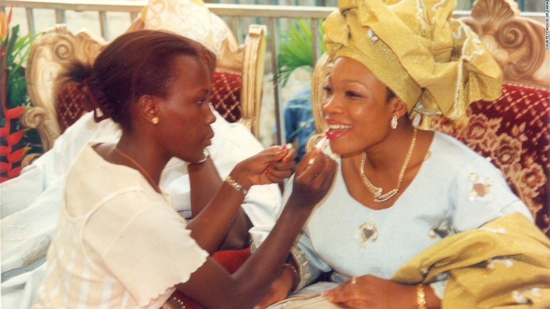 She got her first break when a friend -- the daughter of the chief of Nigeria's naval staff -- graduated and got married (pictured). Investing in a $100 kit, she provided make up for the bridal party.