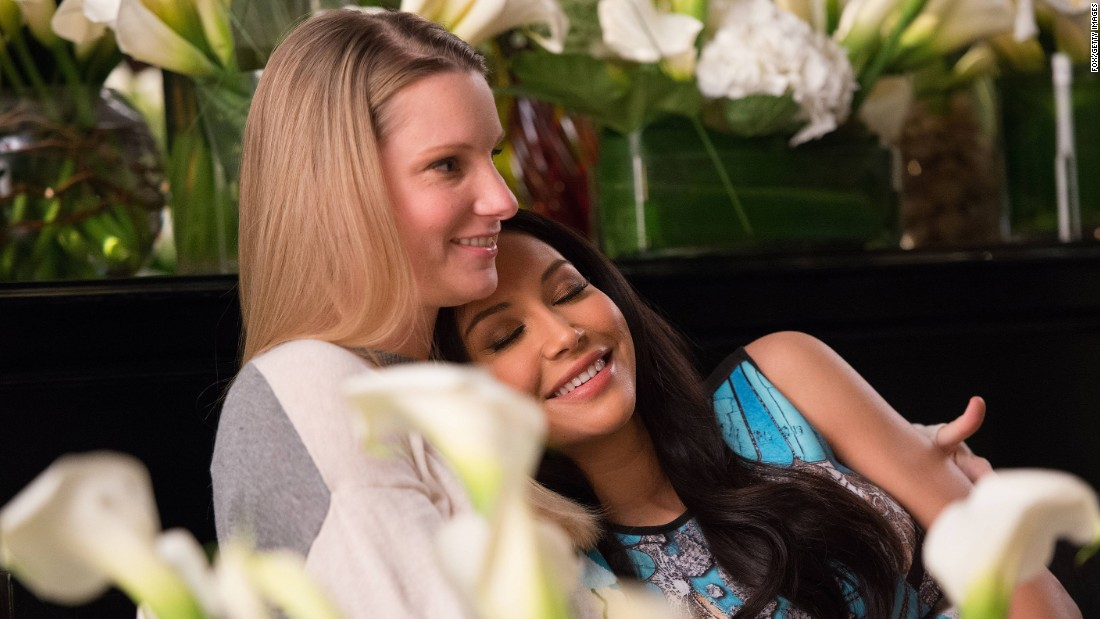 The Glee characters played by Rivera and Heather Morris (left) dated during part of the series, earning both actresses many gay and lesbian fans. Rivera has said she now gets hit on by both men and women.