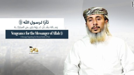 "In a video message Al Qaeda in the Arabian Peninsula commander Nasr Ibn Ali al-Ansi claims responsibility for the attacks on the Charlie Hebdo satirical magazine Jan. 7, 2015. With pictures of the two Kouachi brothers Said and Cherif behind him, al-Ansi says ""When the heroes were assigned, they accepted. They promised and fulfilled"" and praised that attacks saying it was revenge for the depictions of the Prophet Mohammed. Al-Ansi went on to say ""It is France that has shared all of America's crimes. It is France that has committed crimes in Mali and the Islamic Maghreb. It is France that supports the annihilation of Muslims in Central Africa in the name of race cleansing."" The nearly 12-minute video was produced by AQAP's official media wing al-Malahem media and published online Wednesday. Statement obtained and translated by CNN's Salma Abdelaziz in Abu Dhabi. Credit: 	AQAP"