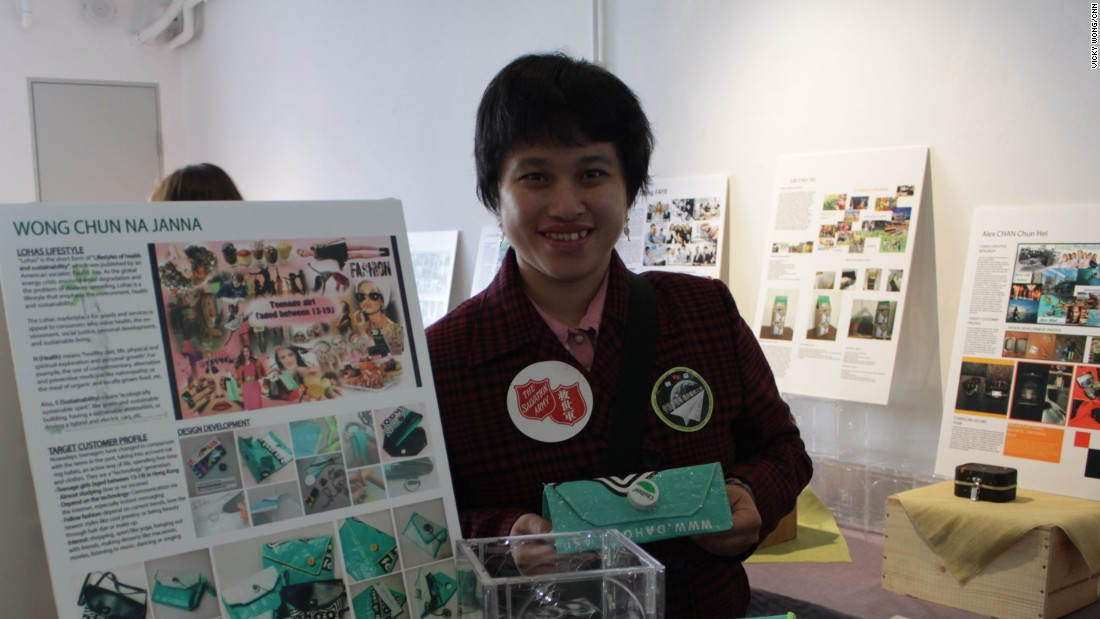 Lee Ching won first place for her upcycled clutch made from an old nylon rice bag. Lee, who has an intellectual disability, joined the Salvation Army in 2001 when she was 17. Some charities in Hong Kong are using events like this to give people with disabilities more skills to help them find work.