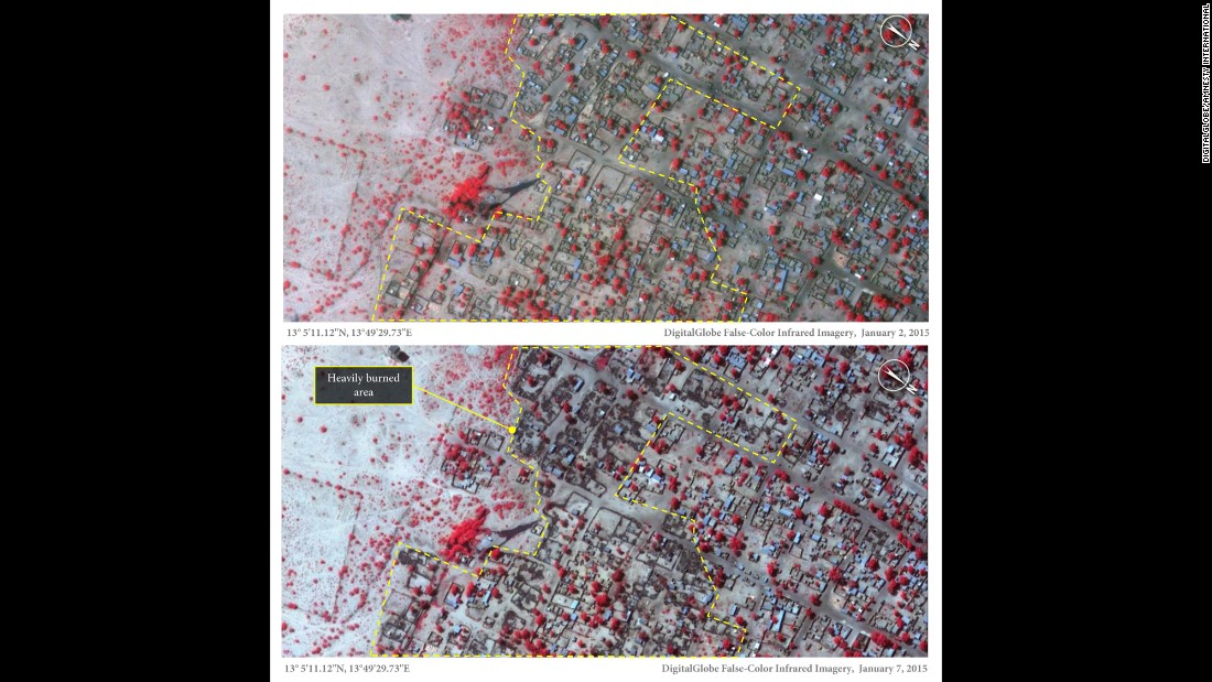 The top image of the northern Nigerian town of Baga, taken on January 2, 2015, shows thatch roof structures. These have been rebuilt since an attack on Baga in April 2013. The dark color in the bottom image, taken on January 7, 2015, represents burned areas, while the red indicates healthy vegetation.