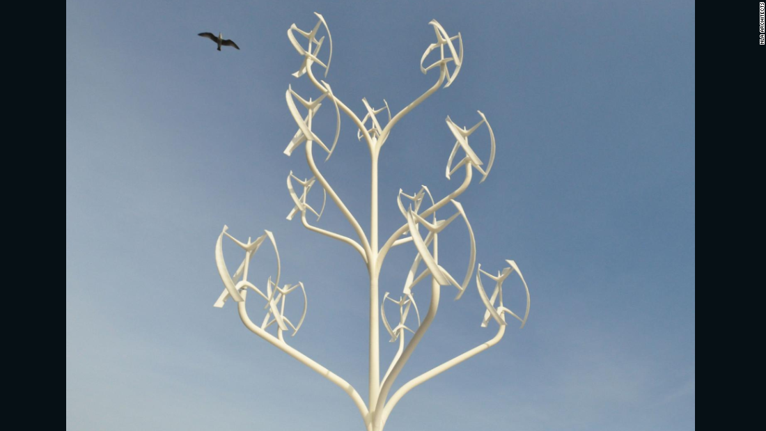 "But the French design isn't the first to combine wind power with a tree structure. Described as an ""urban windmill,"" the ""Power Flower,"" by NL ARchitects, has been designed to minimize space requirements. Having turbines on a vertical axis allows for a much denser construction than with conventional wind turbines."