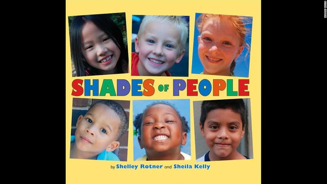 """Shades of People,"" by Shelley Rotner and Sheila Kelly, is a photography book that shows the variety of physical traits people have."