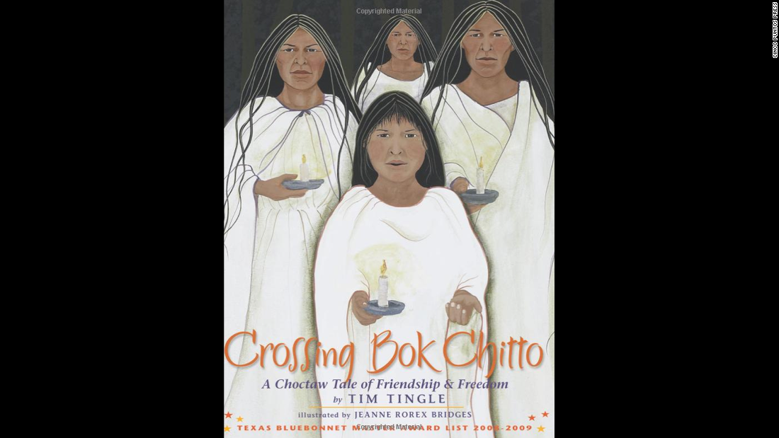 """Crossing Bok Chitto: A Choctaw Tale of Friendship and Freedom,"" written by Tim Tingle and illustrated by Jeanne Rorex Bridges, follows the friendship of a Choctaw girl and an enslaved African-American boy."