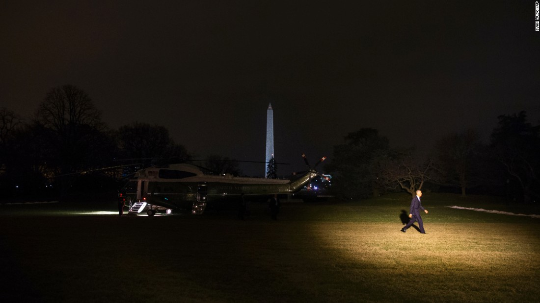 U.S. President Barack Obama arrives on the South Lawn of the White House after a day trip to Cedar Falls, Iowa, on Wednesday, January 14.