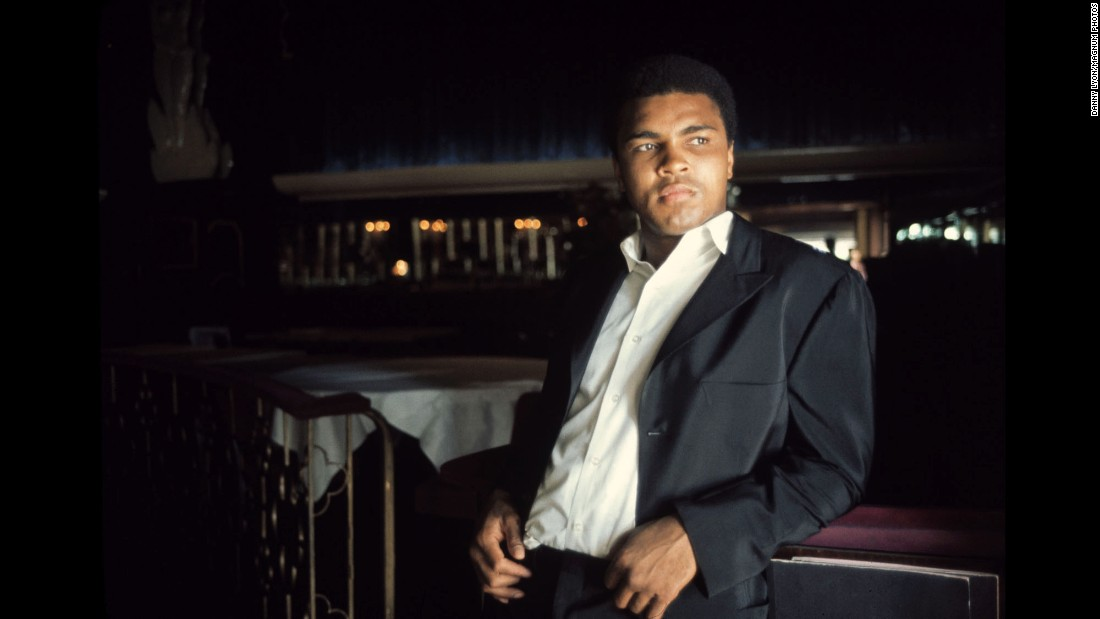Muhammad Ali is seen outside a Miami steakhouse in 1972. Photographer Danny Lyon spent three days with the boxer for an assignment that year.