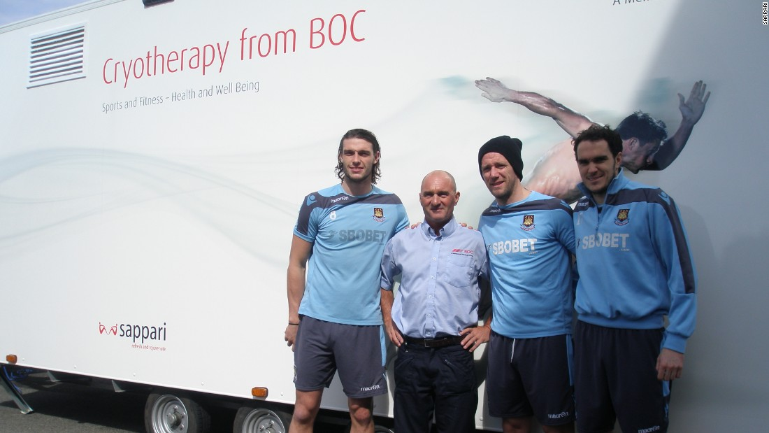 West Ham United is one of several English Premier League soccer teams to use the mobile cryotherapy unit, which has been on the road since 2013. Here players Andy Carroll, Kevin Nolan and Joey O'Brien prepare to enter its chilly interior.