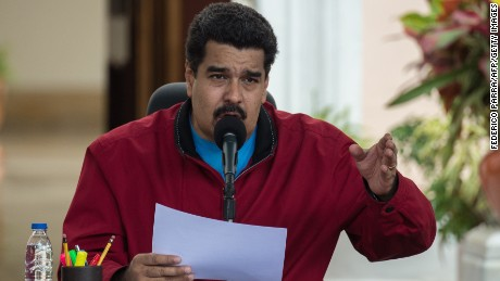 Venezuelan President Nicolas Maduro speaks at Miraflores Palace in Caracas on January 17, 2015. Maduro is back from a tour in search of financial aid.