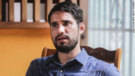 "Nicaraguan filmmaker Gabriel Serra Argüello, nominated for an Oscar for the Academy Awards' 87th edition in the Best Short Film category for his work ""La Parka"", speaks during an interview with AFP at his house in Managua on January 15, 2015."