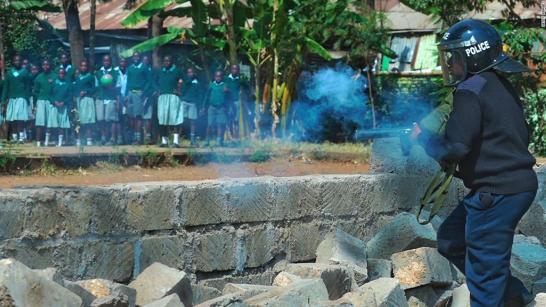 Kenyan schoolchildren tear-gassed at protest over playground