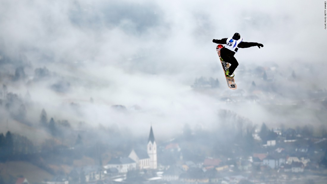 Dutch snowboarder Joris Ouwerkerk cuts through the air Saturday, January 17, as he trains for the Snowboarding World Championships in Kreischberg, Austria.