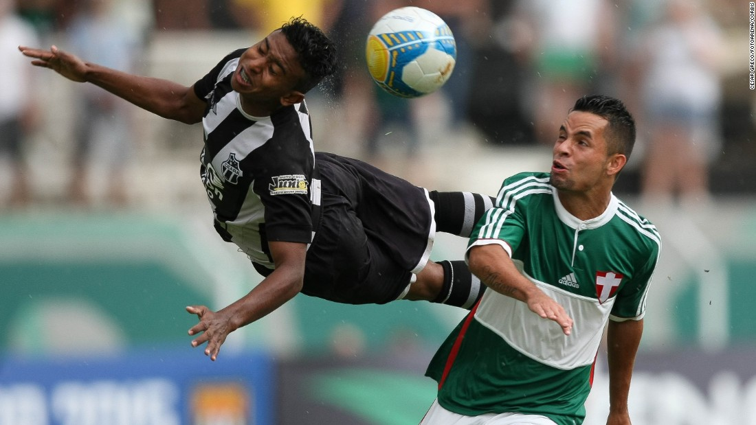 A player from Ceara SC, a Brazilian soccer club, heads the ball during a match against Palmeiras at the Sao Paulo Junior Cup on Wednesday, January 14.