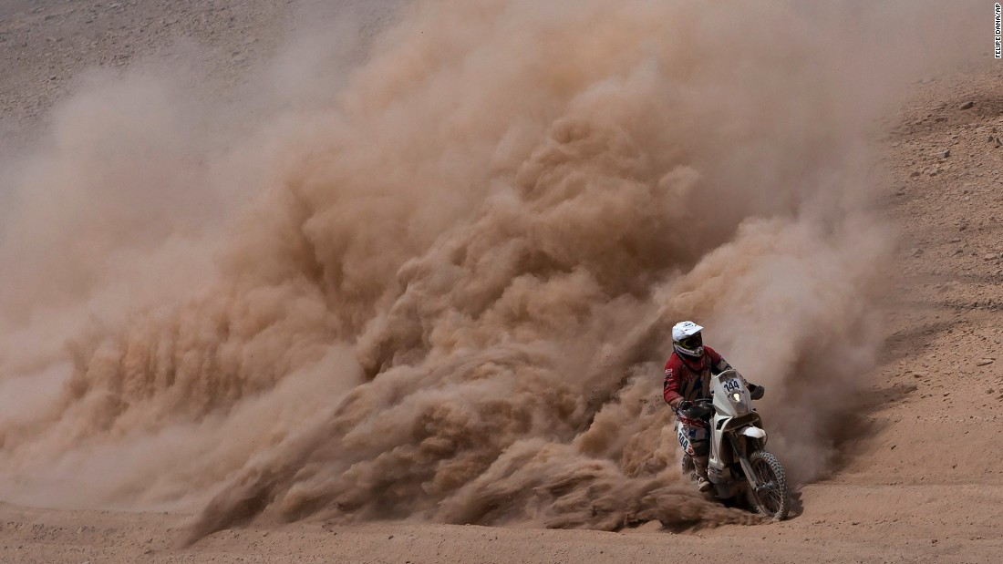Damien Udry races in the Dakar Rally's ninth stage, which took place between the Chilean cities of Iquique and Calama on Tuesday, January 13.
