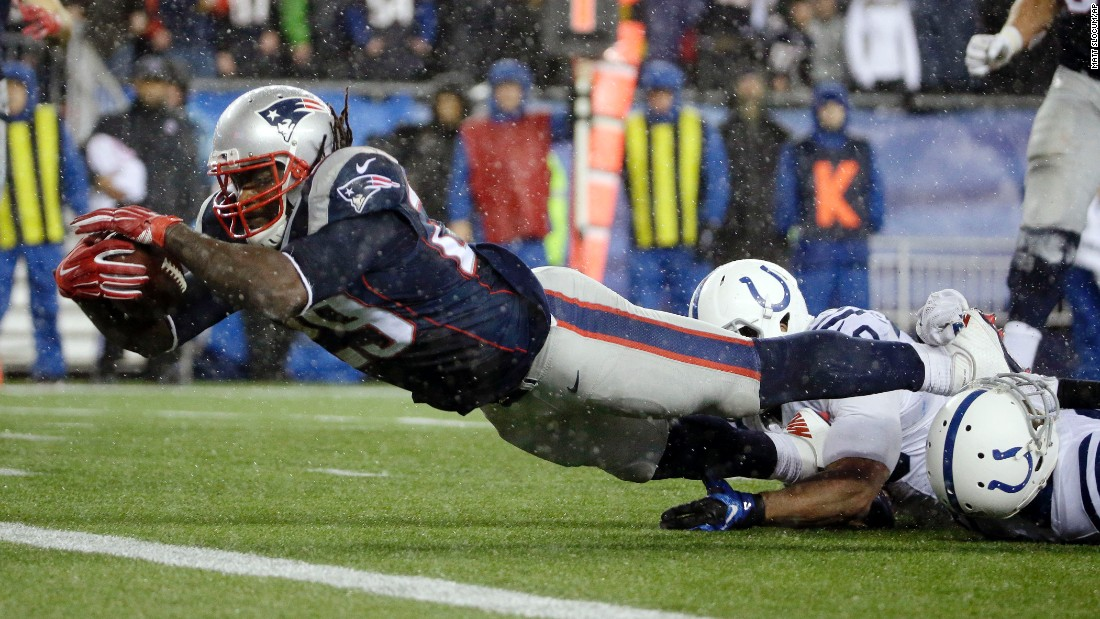 New England running back LeGarrette Blount dives for a touchdown during the AFC Championship on Sunday, January 18. Blount had 148 rushing yards and three touchdowns in the game.