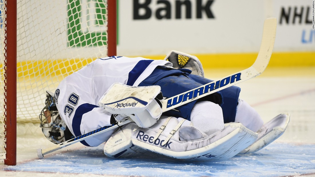Tampa Bay Lightning goalie Ben Bishop stretches before the start of a game in Boston on Tuesday, January 13.