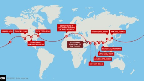 Solar Impulse's route across the globe