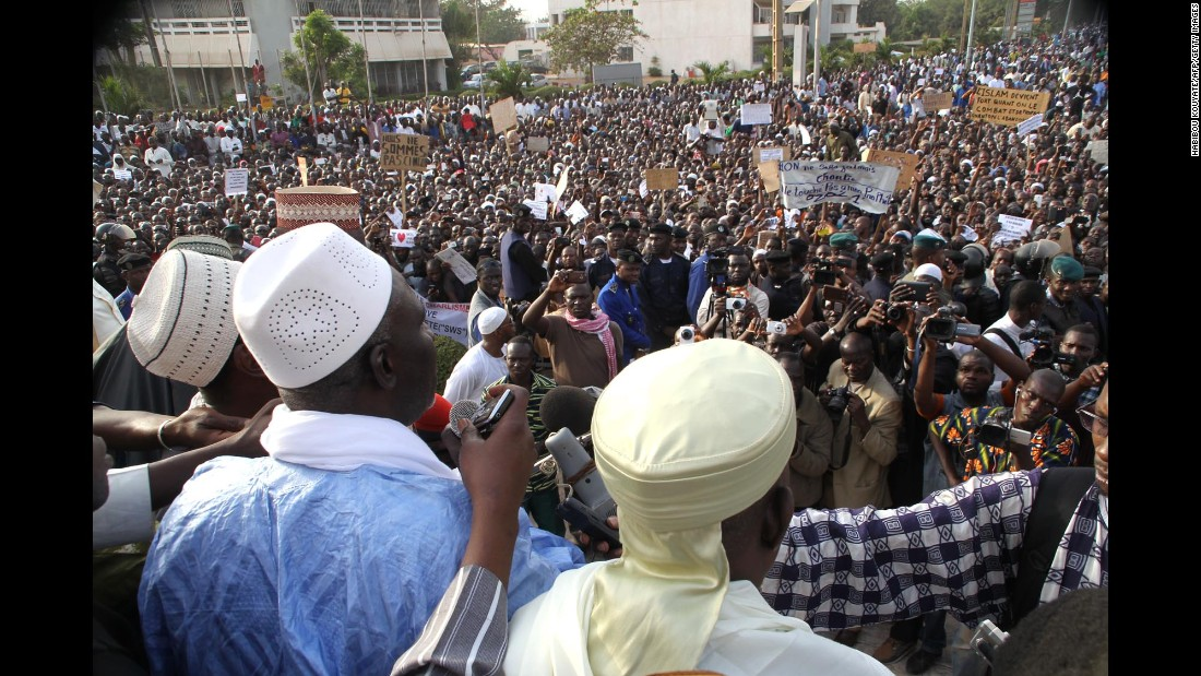 Thousands of people take to the streets of Bamako, Mali, on January 16.