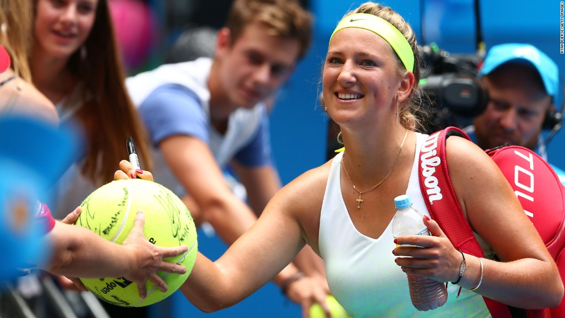 No wonder Victoria Azarenka is smiling. She had a tough first-round opponent in Sloane Stephens but comfortably progressed in straight sets.