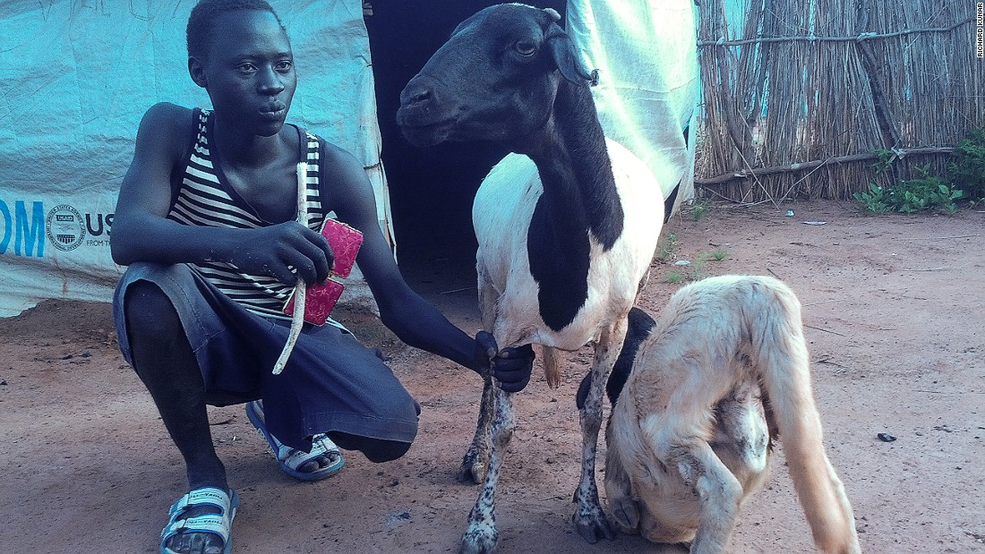 "<br />""My name is James Bond, and I'm from South Kordofan, a state with beautiful resources. I am 17, and I am only here in South Sudan because the war displaced me from home. I decided to keep this sheep in hopes that it will produce two or four or more, so that I can get married. Even though I live alone, it's no problem for me. As the book of Ecclesiastes says, there is time for everything."""