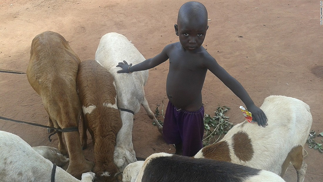 "<br />""A young Nuban boy grazes his sheep in Ajuong Thok Refugee Camp. Nubans are famous for keeping cattle wherever they go. When there is conflict or war, people cannot keep animals. Ajuong Thok is a peaceful place where we can keep our animals safe."""