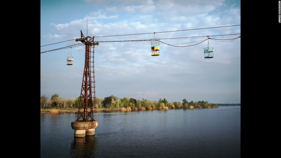 A Soviet-era cable car operates over the Dnieper River in Dnipropetrovsk.