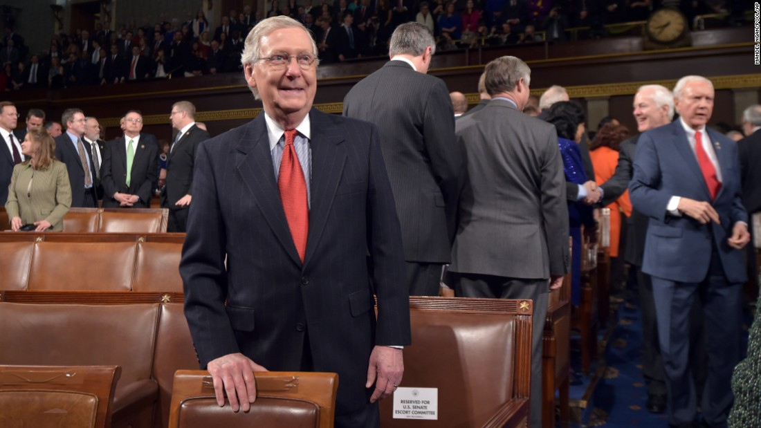 Senate Majority Leader Mitch McConnell of Kentucky awaits the State of the Union address.