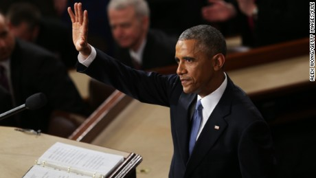 U.S. President Barack Obama waves at the conclusion of his State of the Union speech before members of Congress in the House chamber of the U.S. Capitol on January 20, 2015.