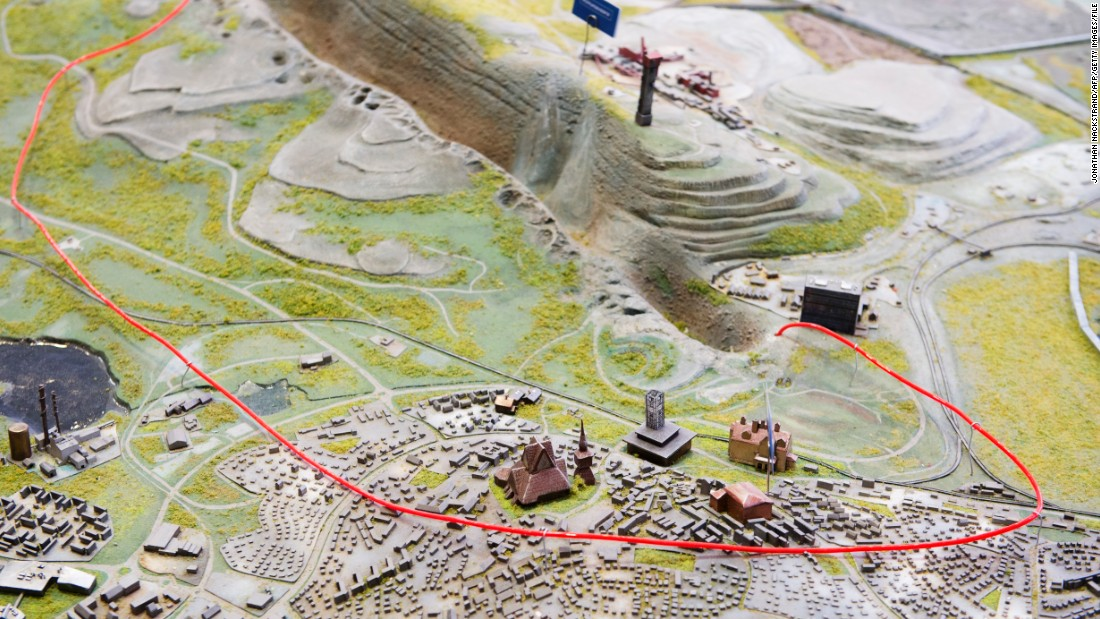A scale model of Kiruna with the area of the city that will be impacted marked within the red wire.