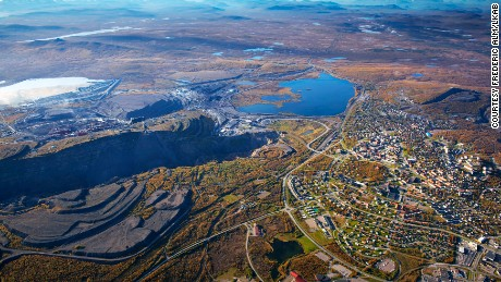 The Swedish city of Kiruna and the LKAB mine (left) pictured from above.