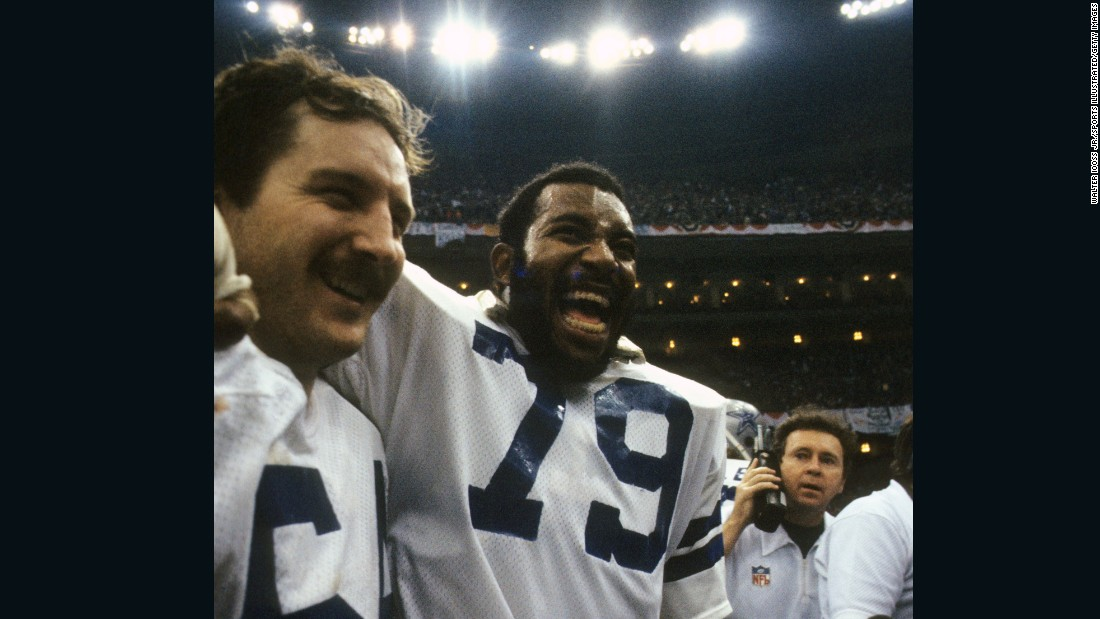 "A dominating performance by Dallas' ""Doomsday Defense"" led to the first and only time that two players would share the Super Bowl MVP award. Defensive linemen Randy White, left, and Harvey Martin helped the Cowboys force eight turnovers and defeat Denver 27-10."