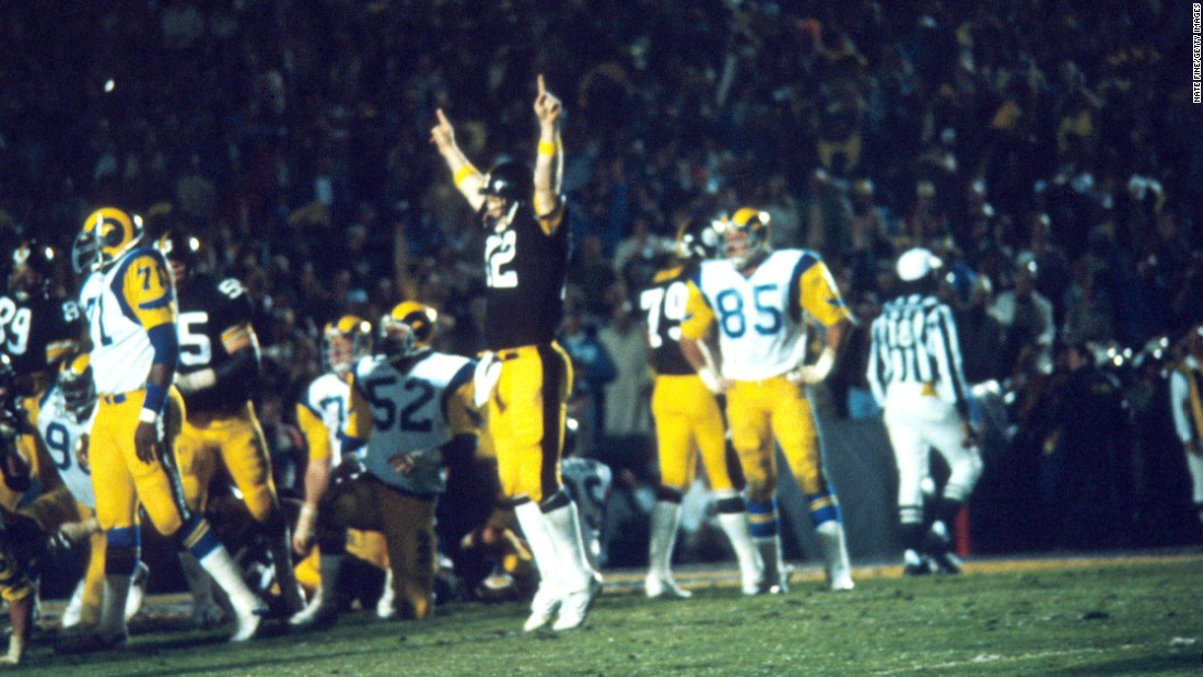 Bradshaw led the way again in Super Bowl XIV, throwing for 309 yards and a pair of touchdowns as the Steelers defeated the Los Angeles Rams 31-19. It was the Steelers' fourth title in six years.