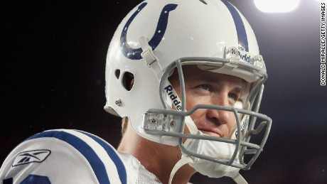 MIAMI GARDENS, FL - FEBRUARY 04:  Quarterback Peyton Manning #18 of the Indianapolis Colts waits on the sidelines before playing in Super Bowl XLI against the Chicago Bears on February 4, 2007 at Dolphin Stadium in Miami Gardens, Florida.  (Photo by Donald Miralle/Getty Images) *** Local Caption *** Peyton Manning