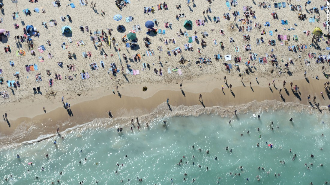 An aerial view of Sydney's Bondi Beach on Saturday, January 17.