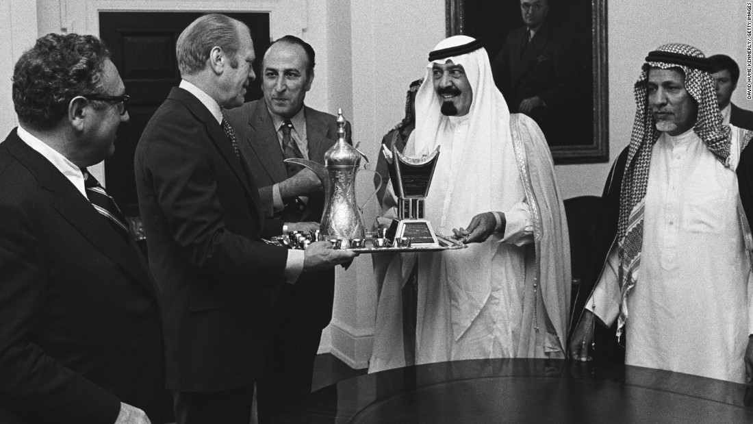 U.S. President Gerald Ford accepts a gift from Prince Abdullah in Washington in July 1976. Abdullah became King of the oil-rich nation, a key U.S. ally in the Middle East, in August 2005.