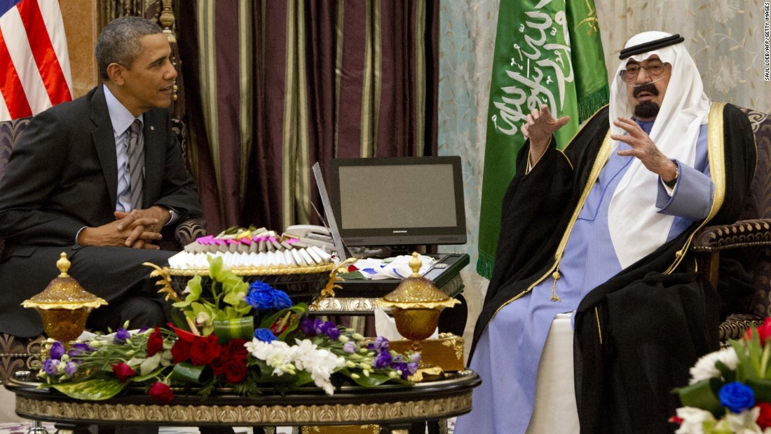 The King meets with U.S. President Barack Obama at Rawdat Khurayim, the monarch's desert camp in Saudi Arabia, on March 28.