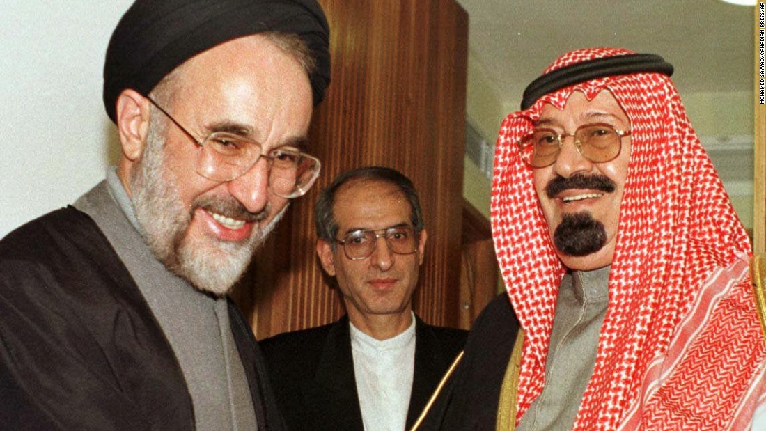 Iranian President Mohammad Khatami meets Prince Abdullah in December 1997, during a break of the Islamic Conference summit in Tehran, Iran. Abdullah was the highest-ranking Saudi official to visit Tehran since the 1979 Iranian Islamic Revolution.